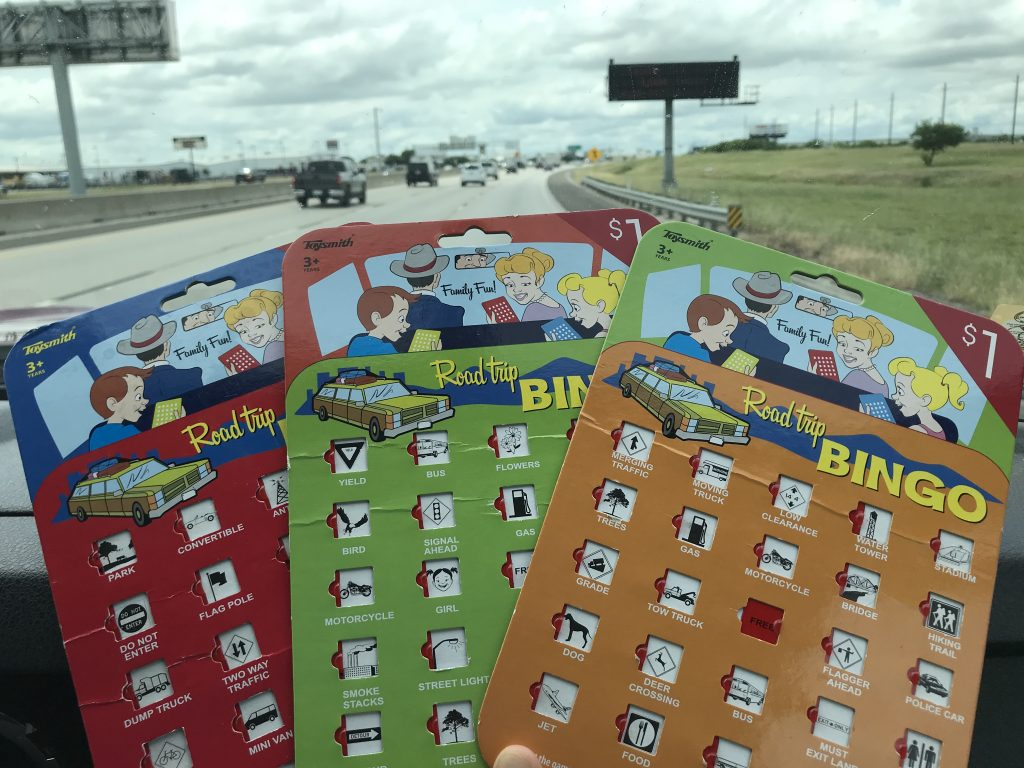 Car activity: Road trip BINGO boards