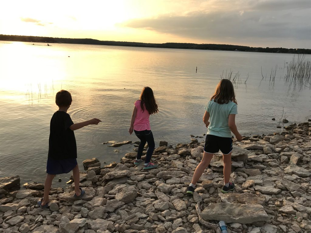 Skipping rocks at Lake Brownwood