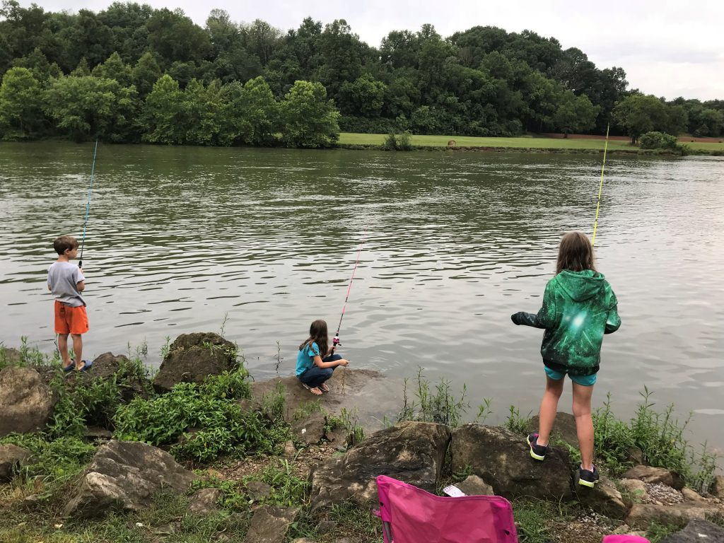 Kids fishing at Douglas Dam Campground