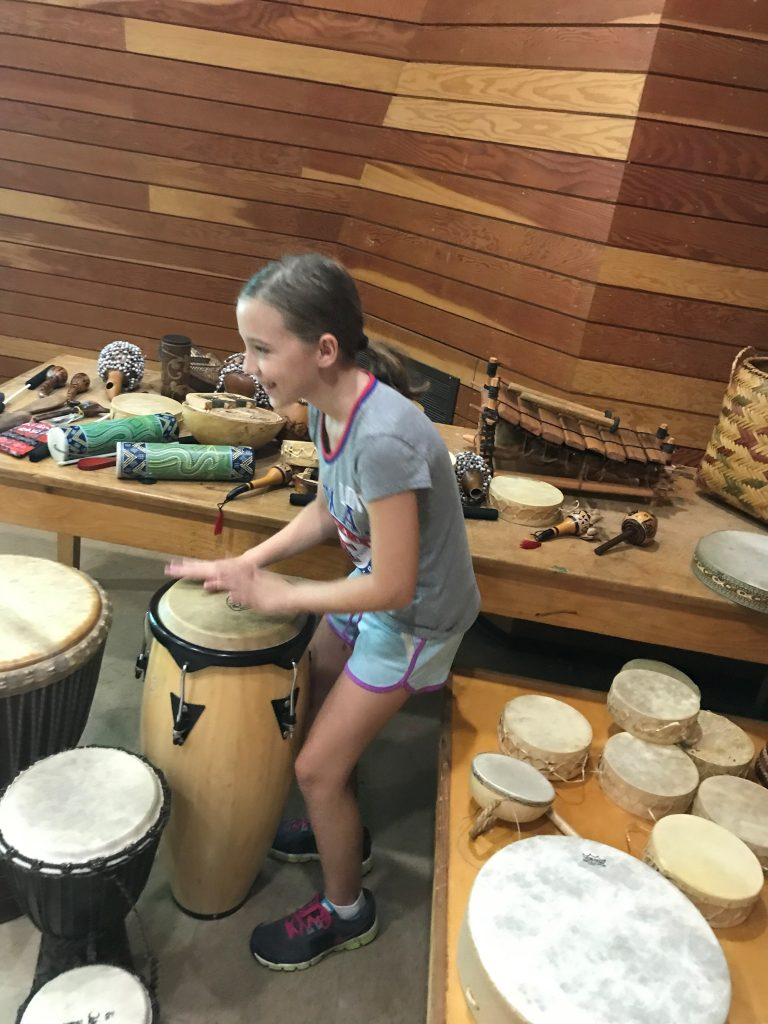 Playing the drums at Chucalissa