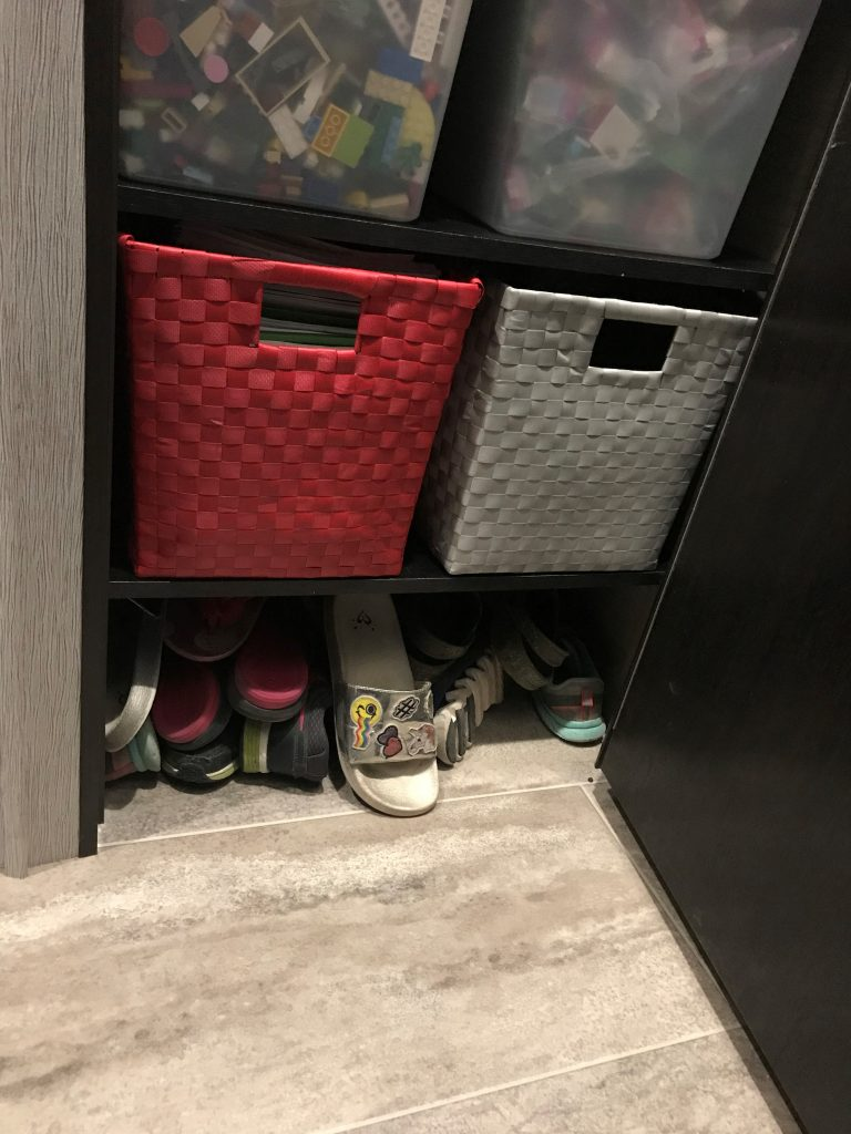 Shoes in front closet