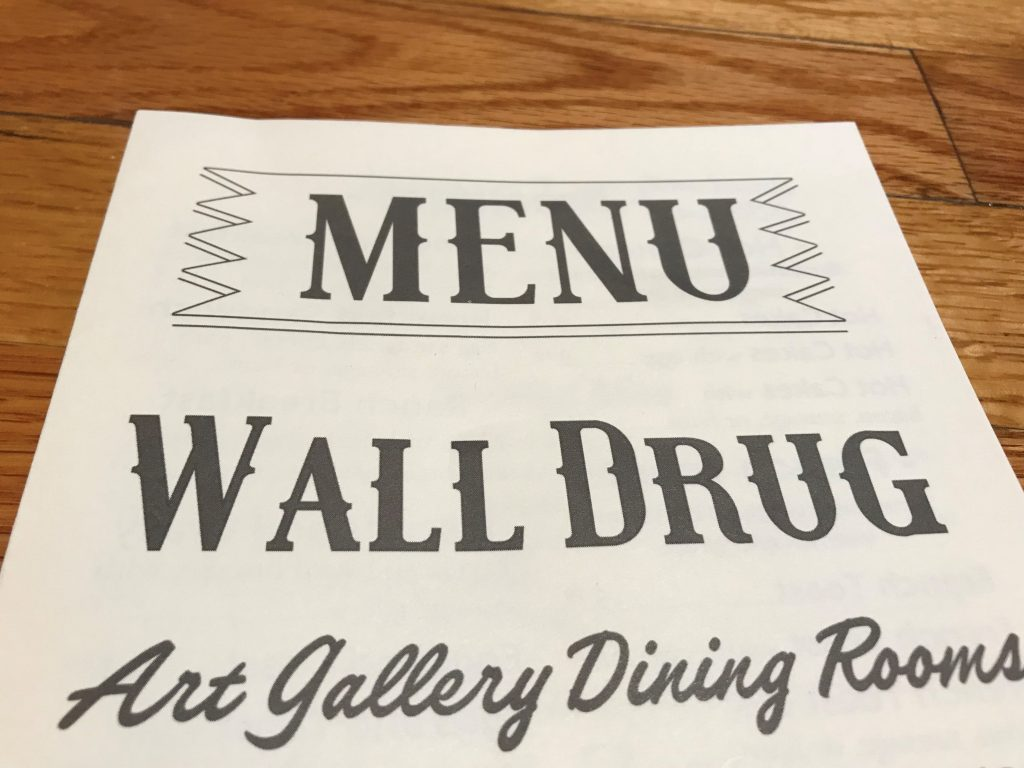 Wall Drug menu