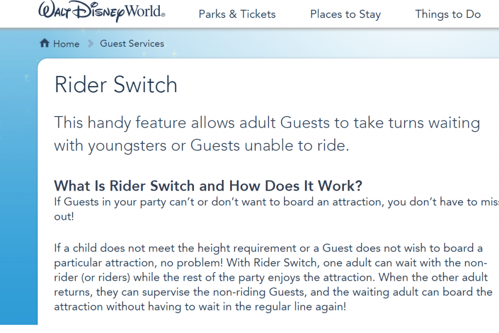 Walt Disney World pet peeve rider switch pass