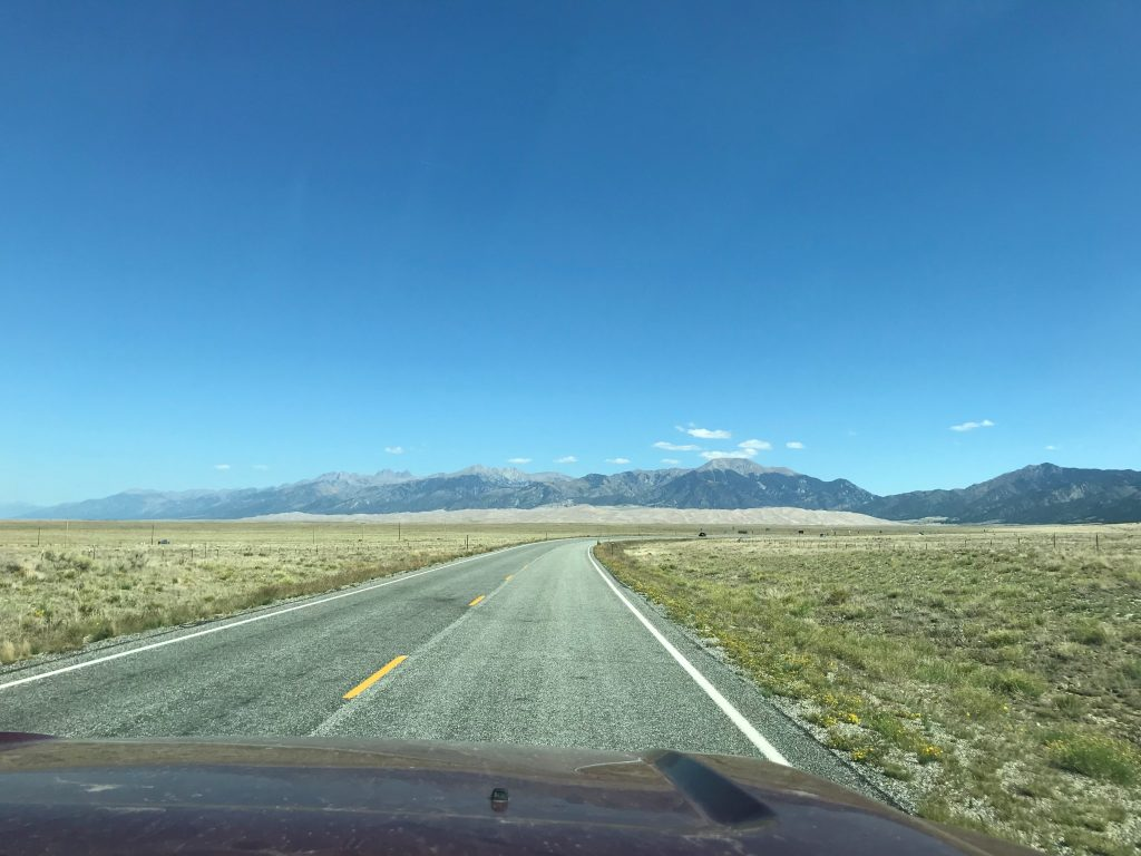 Driving in to Great Sand Dunes NP