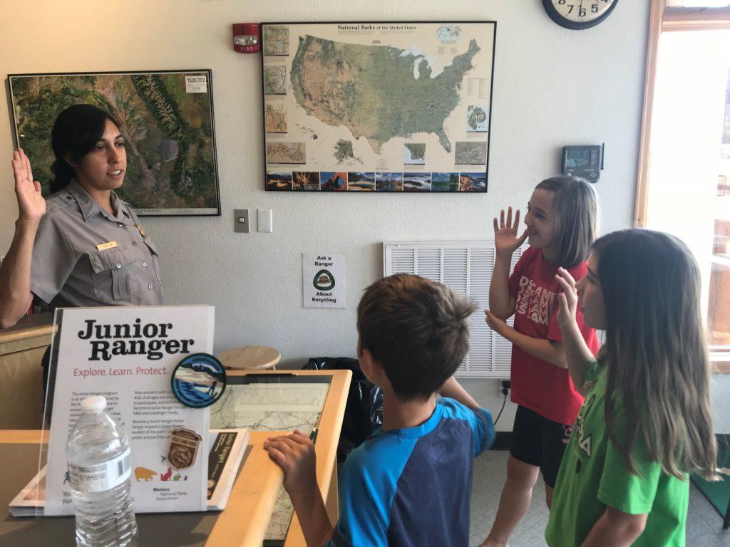 Kids getting taking their Junior Ranger pledge