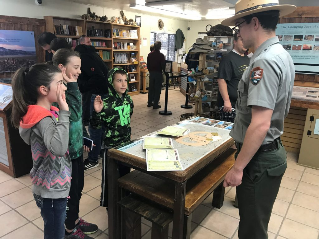 Joshua Tree National Park with the Kids getting their Junior Ranger badges