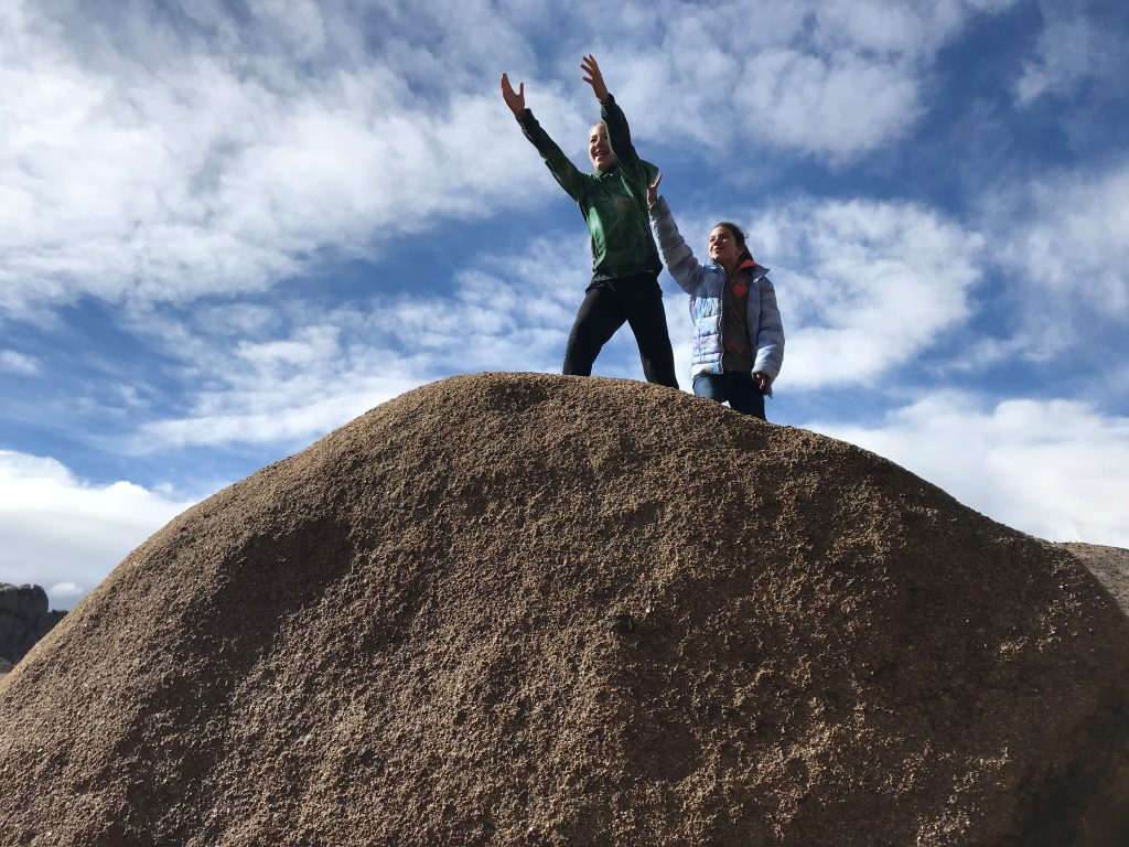 Joshua Tree National Park with the Kids playing on the huge boulders