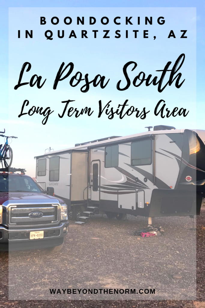 Quartzsite, AZ is a winter hot spot for RVers. See what makes this boondocking spot so unique. #ArizonaCamping #ArizonaBoondocking #QuartzsiteArizona #WayBeyondTheNorm