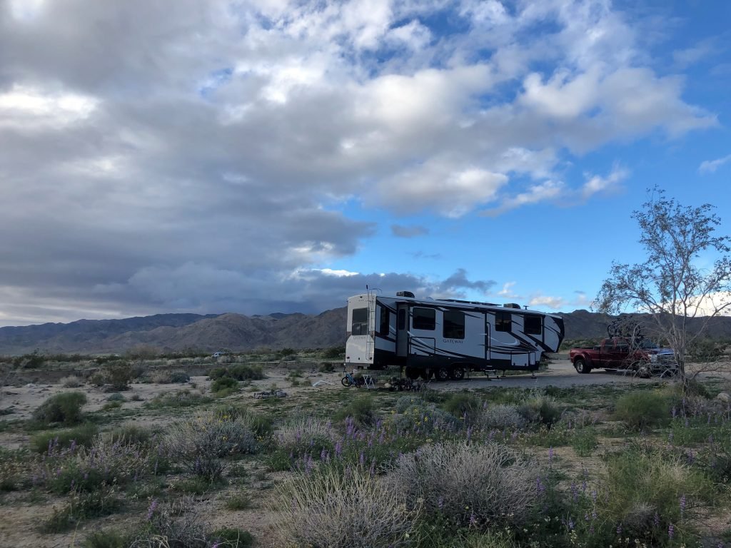 Our site while boondocking at Joshua Tree