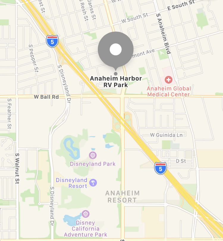 Map of Anaheim Harbor RV Park location