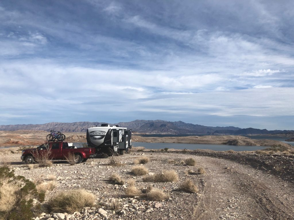 Our site while boondocking at Lake Mead