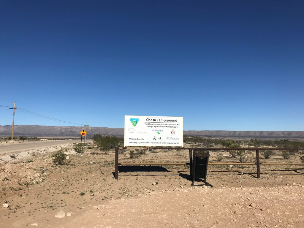Chosa Campground entrance and sign